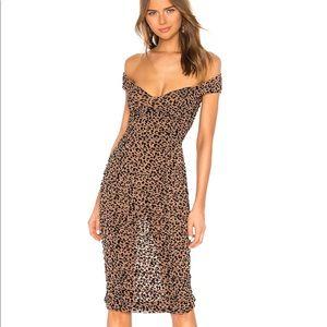 Leopard off-shoulder ruched all over dress